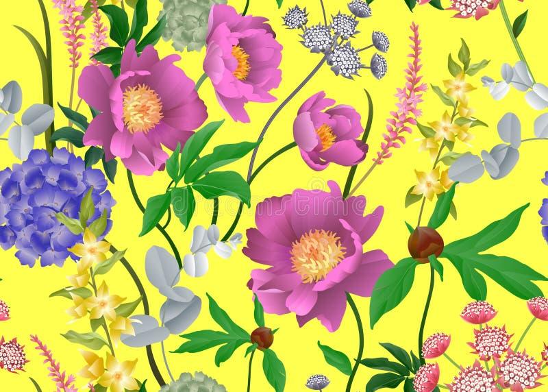 Floral seamless pattern. Peonies, hydrangeas, eucalyptus branches, foliage and herbs. Garden flowers. Floral seamless pattern. Peonies, hydrangeas, Eucalyptus stock illustration