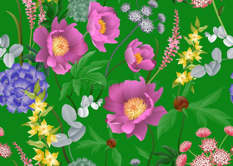 Floral seamless pattern. Peonies, hydrangeas, eucalyptus branches, foliage and herbs on green background. Garden flowers. Floral seamless pattern. Peonies royalty free illustration