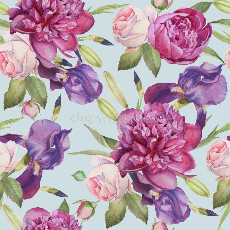 Floral seamless pattern with peonies, roses and iris royalty free illustration