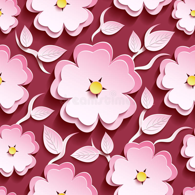 Floral seamless pattern pink 3d sakura and leaves. Romantic trendy maroon background seamless pattern with white, pink ornate 3d flower sakura - japanese cherry vector illustration