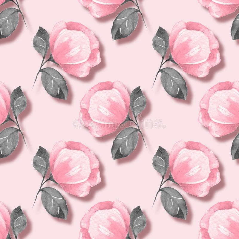 Floral seamless pattern. Pink flowers 04 royalty free illustration