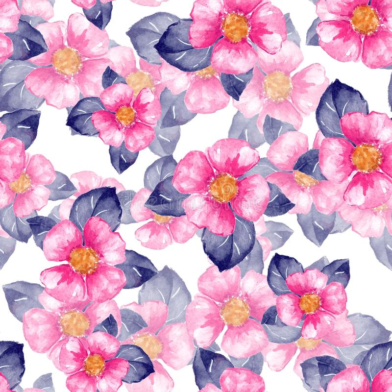 Floral seamless pattern with pink flowers vector illustration