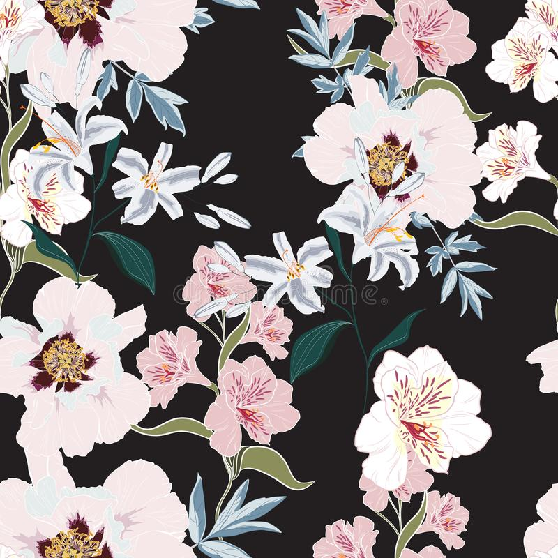 Floral Seamless Pattern with Pink Peony Flowers, alstroemeria and lilies. vector illustration