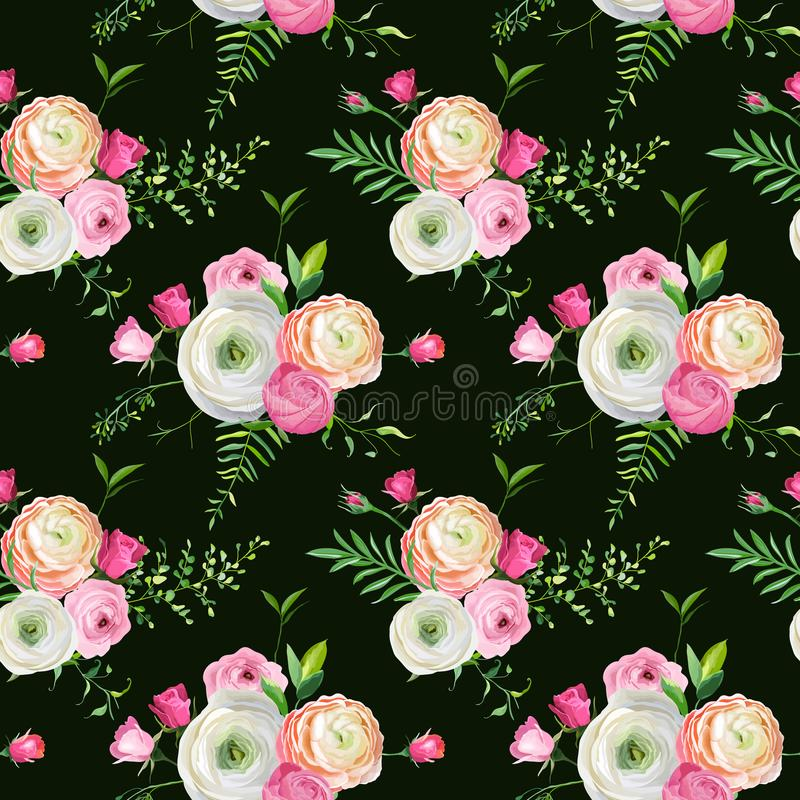 Download Floral Seamless Pattern With Pink Roses And Ranunculus Flowers Botanical Background For Fabric Textile