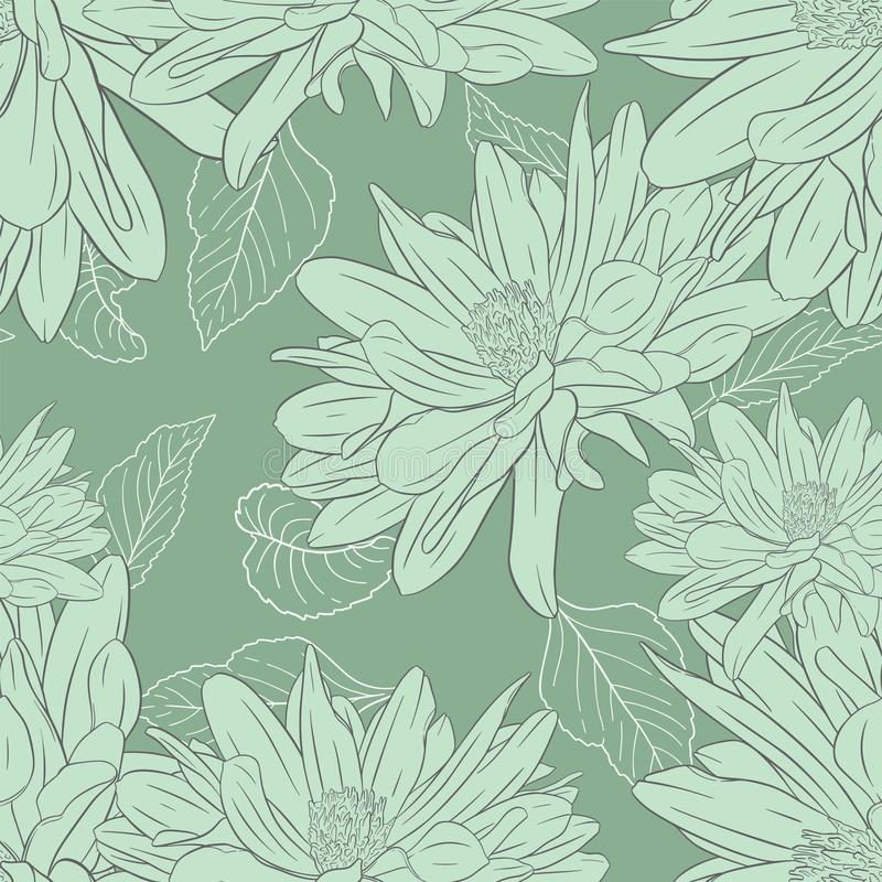 Floral seamless pattern. Plant in blossom, branch with flower ink sketch. Dahlia. Fashion floral print for a business card, banner. Poster, wrapping, fabric stock illustration