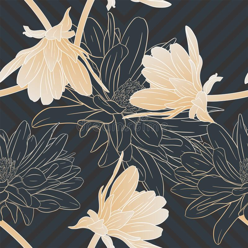 Floral seamless pattern. Plant in blossom, branch with flower ink sketch. Dahlia. Fashion floral print for a business card, banner. Poster, wrapping, fabric vector illustration