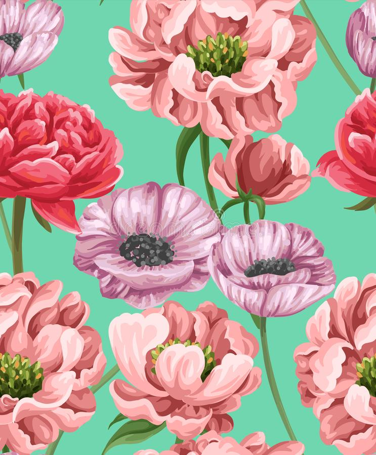 Floral seamless pattern with popies, peonies and roses. Floral seamless pattern with flowers in watercolor style. Poppies, roses and peonies vector illustration