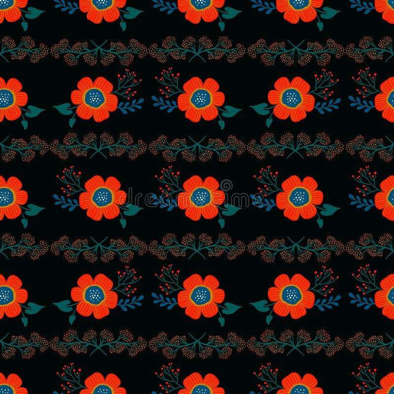 Floral seamless pattern. Pretty red flowers on black background. Printing with small white flowers. Ditsy print. Vector texture. royalty free illustration