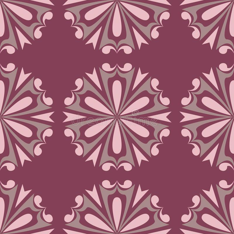 Floral seamless pattern. Purple red background with flower design elements stock illustration