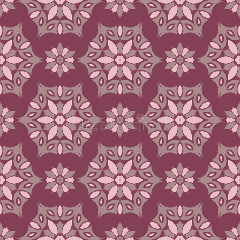 Floral seamless pattern. Purple red background with flower design elements royalty free illustration