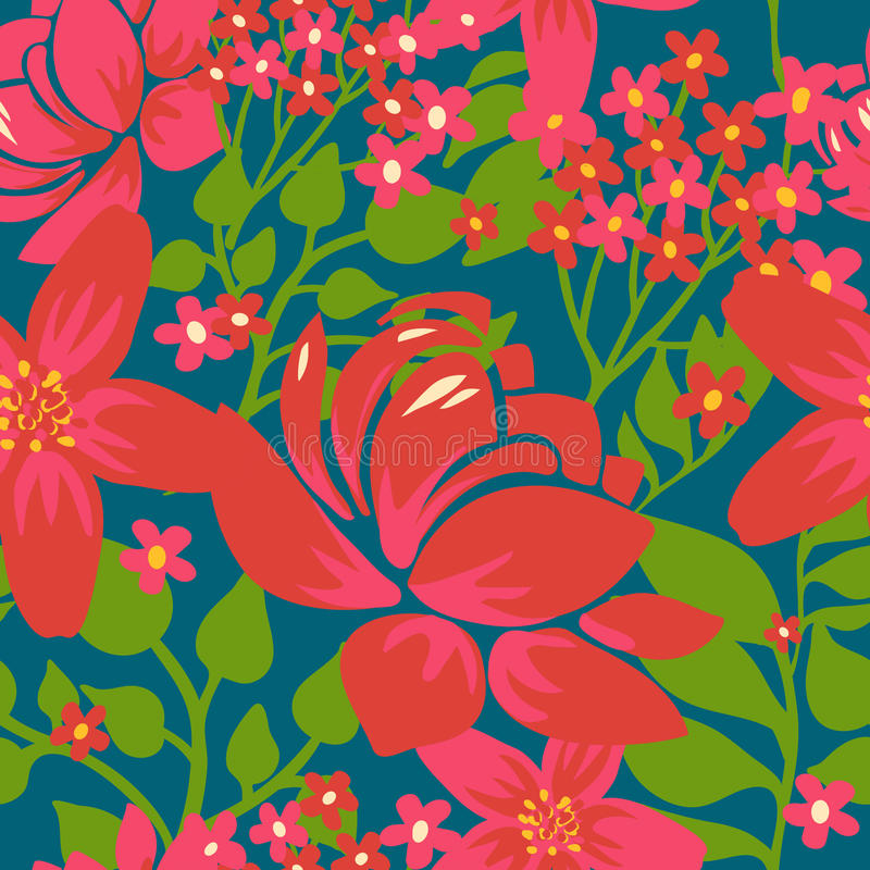 Floral Seamless Pattern With Red Flowers Stock Images