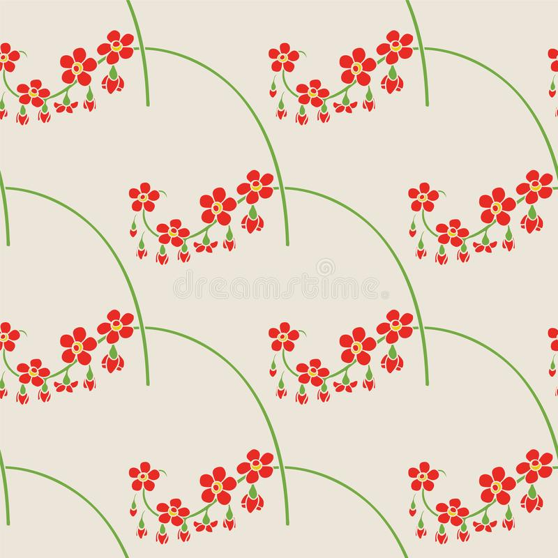 Beige Floral Seamless Pattern with Red Flowers vector illustration