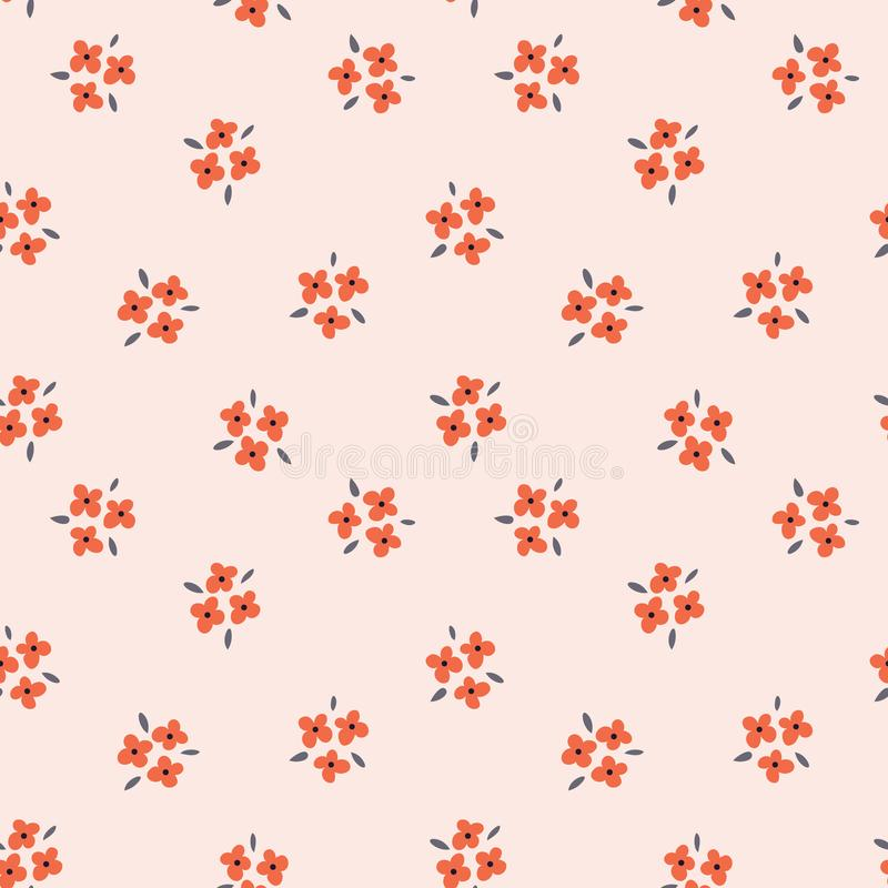 Floral seamless pattern with red flowers on pink background. Repeated light backdrop, soft textile texture. Bright vector illustration