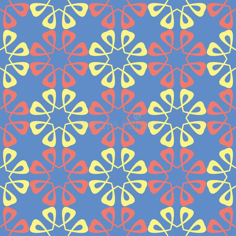 Floral seamless pattern. Red and yellow flower elements on blue background stock illustration