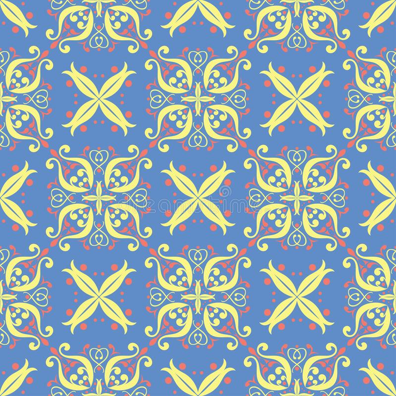Floral seamless pattern. Red and yellow flower elements on blue background royalty free stock photography