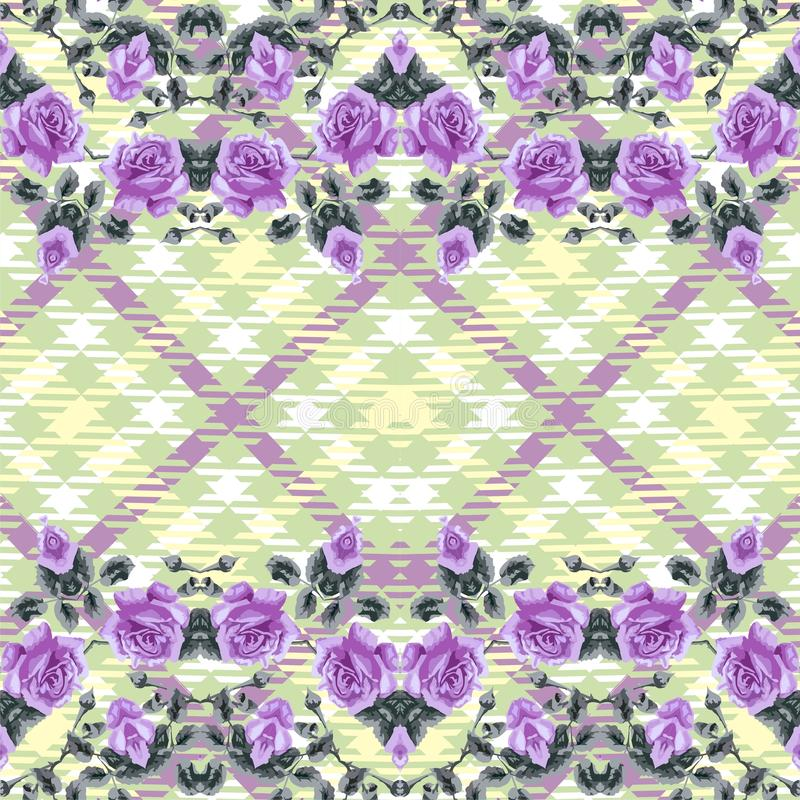 Floral seamless pattern (roses), fabric tartan. vector illustration