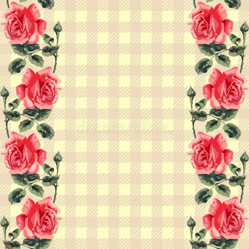 Download Floral Seamless Pattern (roses), Fabric Tartan. Stock Vector - Image: 32241336