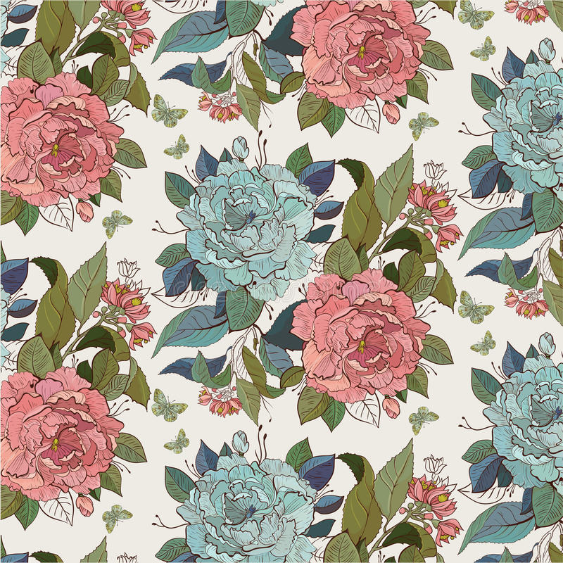 Floral seamless pattern with roses vector illustration