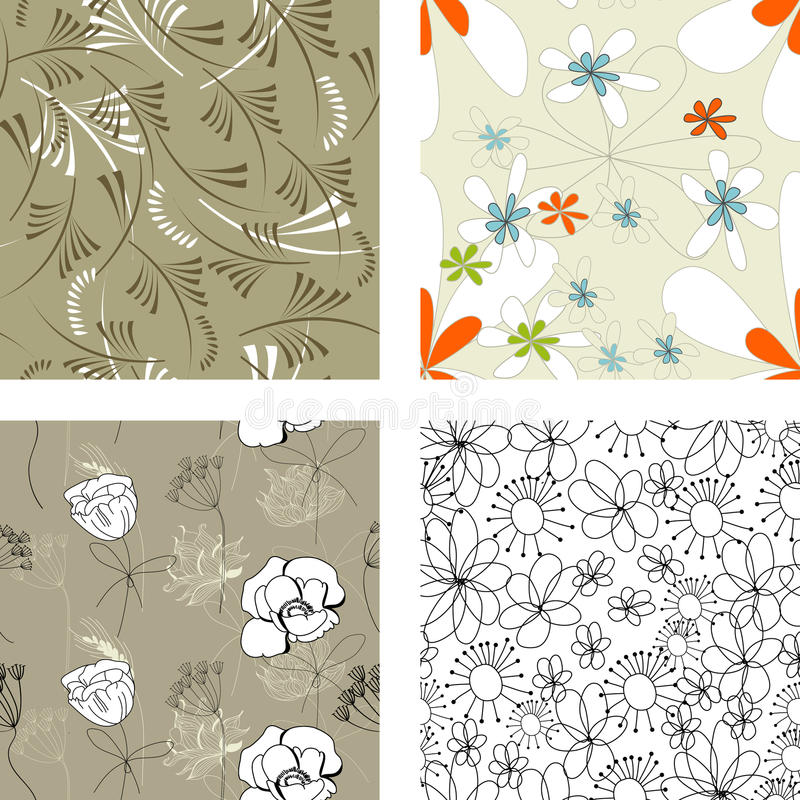 Floral Seamless Pattern. Set 4 Stock Photos