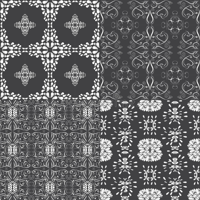 Floral seamless pattern set, floral vector designed. vector illustration