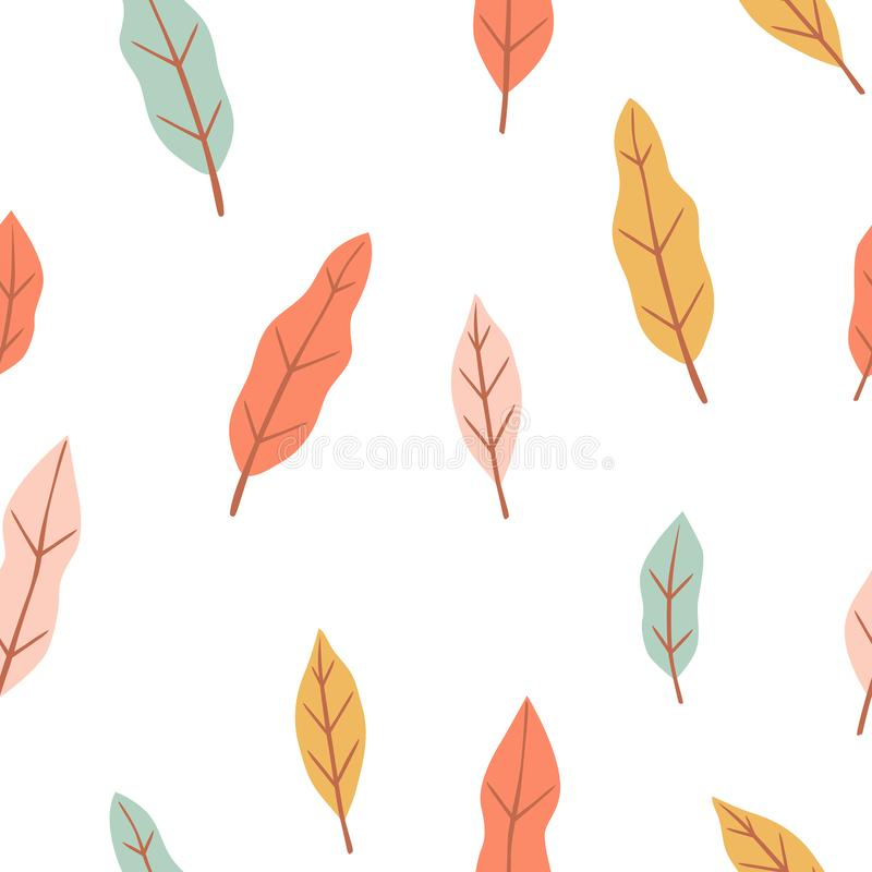 Floral seamless pattern with simple little leaves in pastel color. royalty free illustration