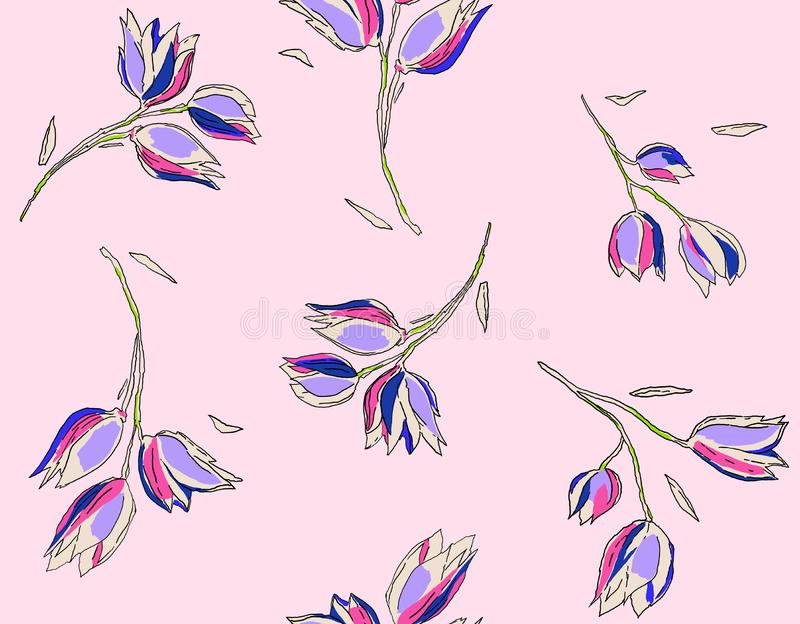 Floral Seamless Pattern in Sketched Outline Style. Flowers Hand Drawn Background for Fabric, Print, Wrapping Paper, Decor. royalty free illustration