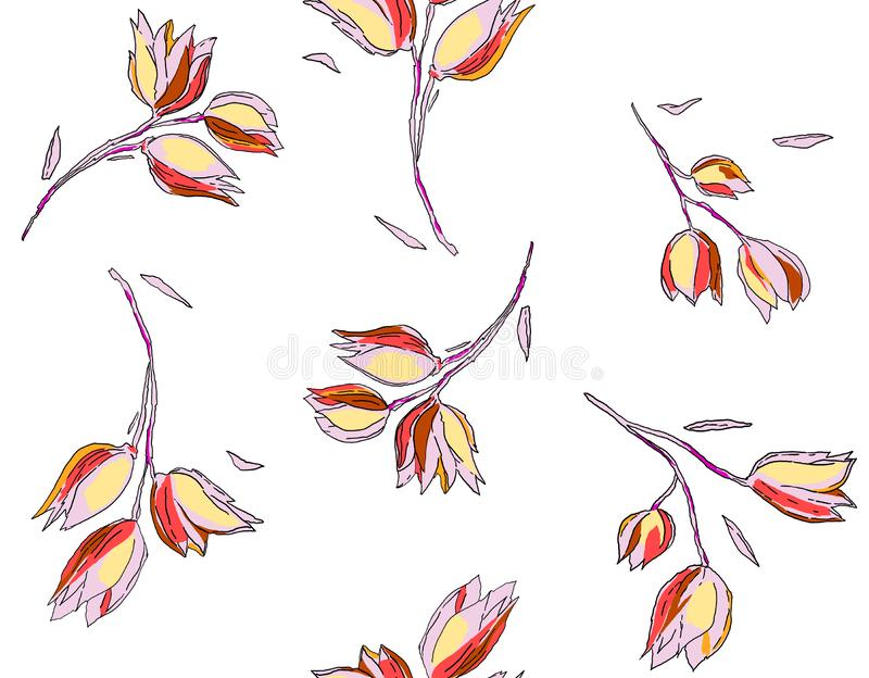 Floral Seamless Pattern in Sketched Outline Style. Flowers Hand Drawn Background for Fabric, Print, Wrapping Paper, Decor. On whit. E background.n royalty free illustration
