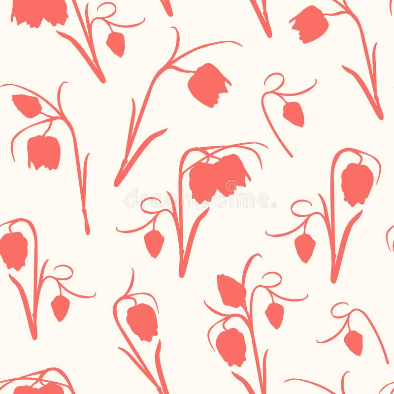 Floral seamless pattern. Spring tulip flowers stem, leaves, blossom, buds. Crimson coral red on beige white background. vector illustration