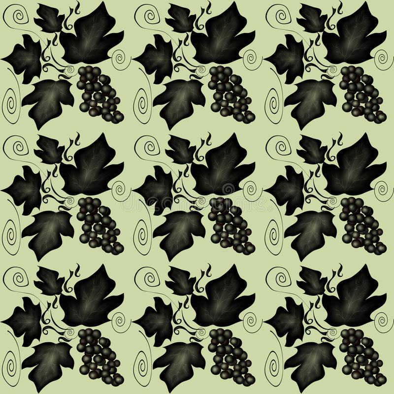 Floral seamless pattern. With swirl, leaf and vine grape stock illustration