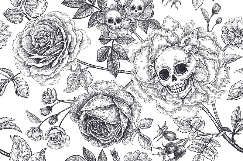 Floral seamless pattern with symbols of day dead. Skulls, blooming rose flowers and foliage royalty free illustration