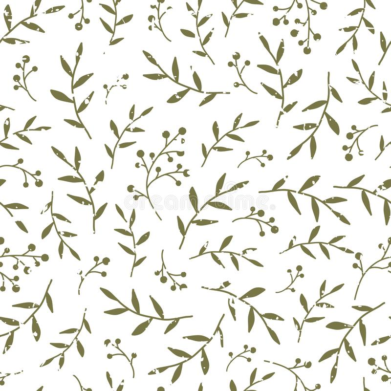 Floral Seamless pattern texture with black berries sprigs and leaves. White background. Vector illustration with twigs. Perfect floral ornament for printing on royalty free illustration