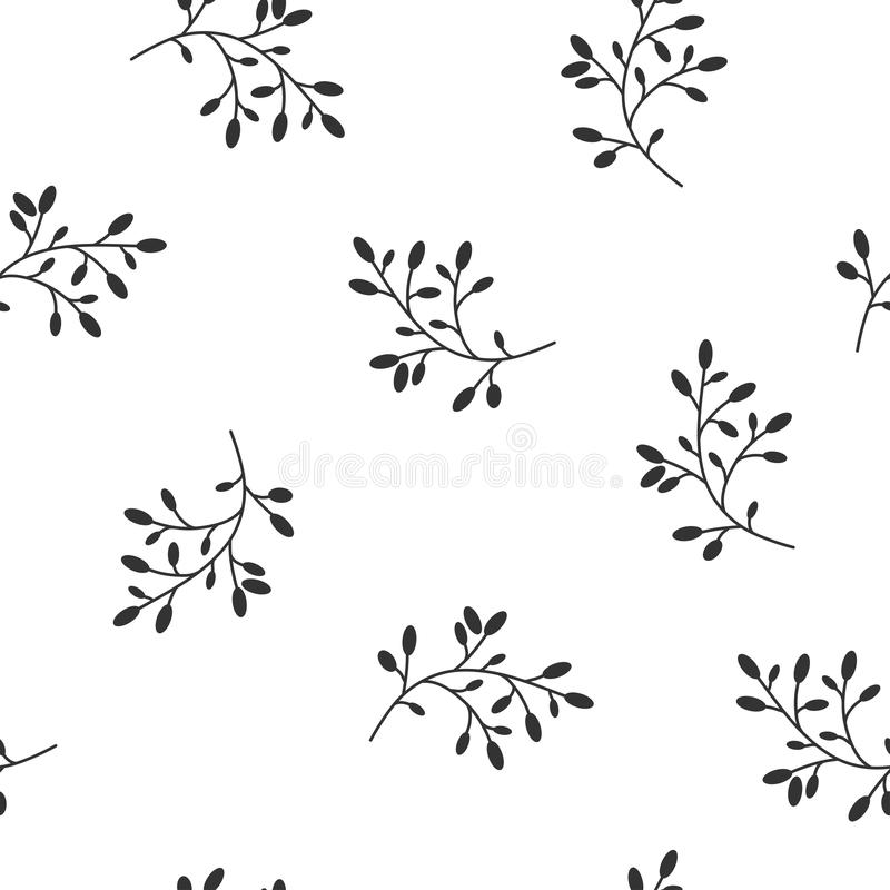 Floral Seamless pattern texture with Black berries sprigs. White background. Vector illustration with twigs. Perfect for printing on fabric or paper. Black and royalty free illustration