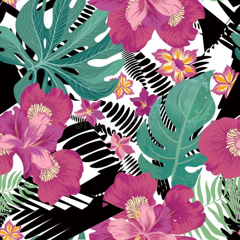 Floral seamless pattern. Tropical Flower background. Floral seamless pattern. Flower background. Flourish garden texture with flowers iris. Flourish nature stock illustration