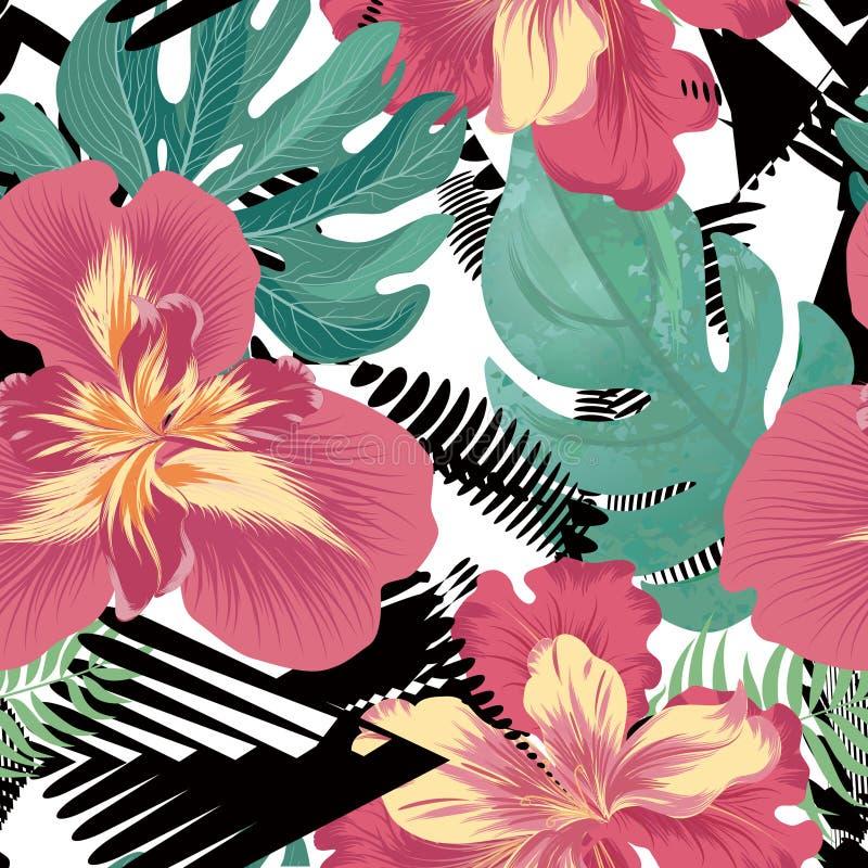 Floral seamless pattern. Tropical Flower background. Floral seamless pattern. Flower background. Flourish garden texture with flowers iris. Flourish nature vector illustration
