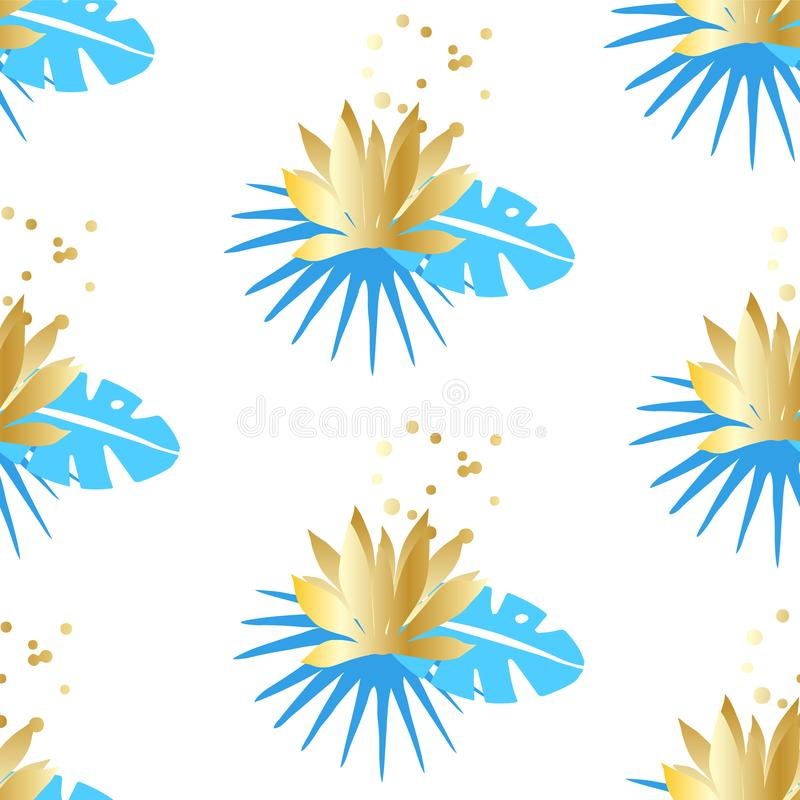 Floral seamless pattern with tropical leaves and golden lotuses on a white background. Ornament for textile and wrapping. Vector stock illustration