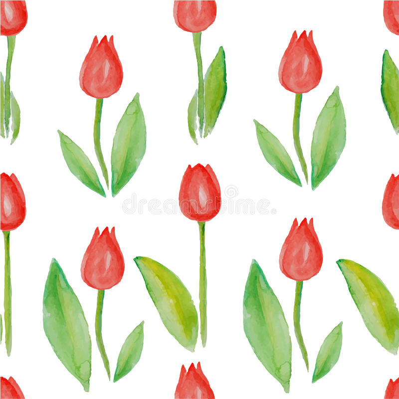 Free Floral Seamless Pattern Tulips (red Flowers With Green Leafs). Stock Images - 50697684