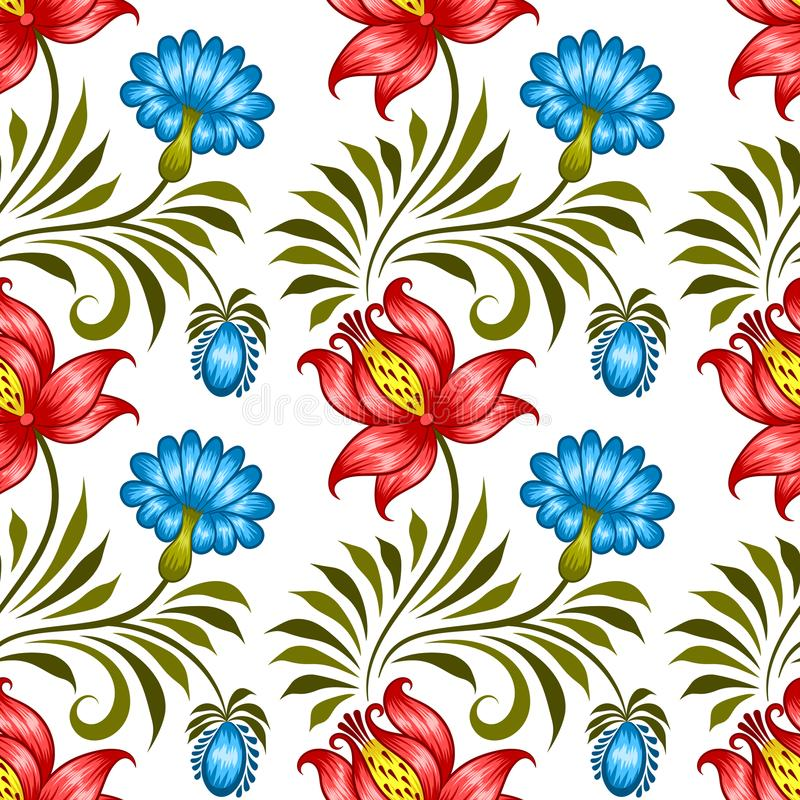 Ukrainian floral pattern. Floral seamless pattern in ukrainian national style. Vector Illustration stock illustration
