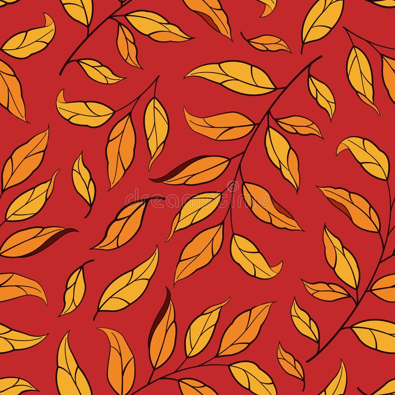 Floral seamless pattern. Vector autumn leaves with branches on red background. royalty free illustration