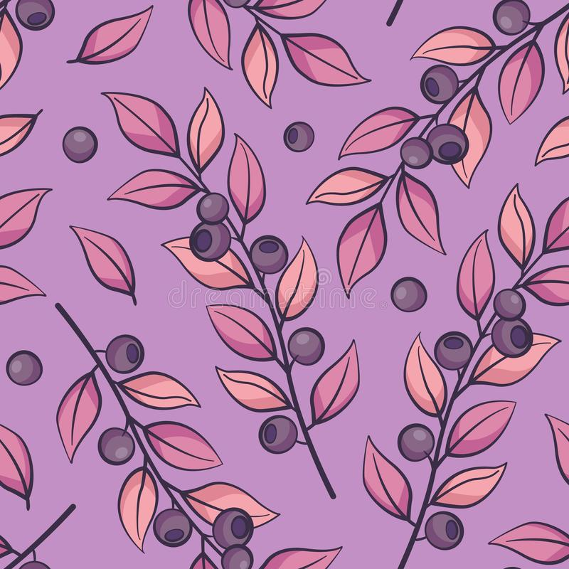 Floral seamless pattern. Vector branches with blueberries on purple background. stock illustration
