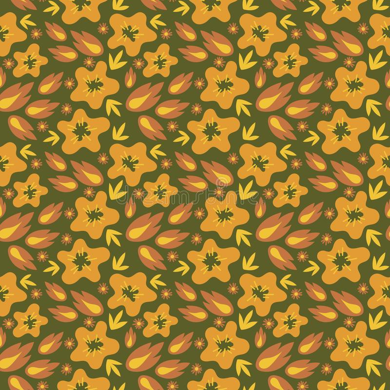 Floral seamless pattern. Vector textures. Autumn flowers , orange and yellow shades vector illustration