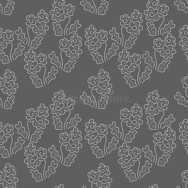 Floral seamless pattern. Vector textures. Simple delicate flowers on a dark background. Print flower color. Two-color pattern in a royalty free illustration