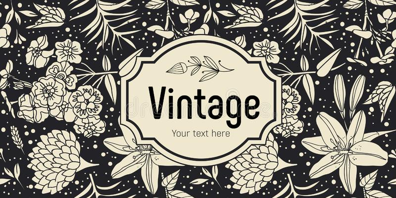 Floral seamless pattern. Vintage style, frame with the inscription. / / stock illustration
