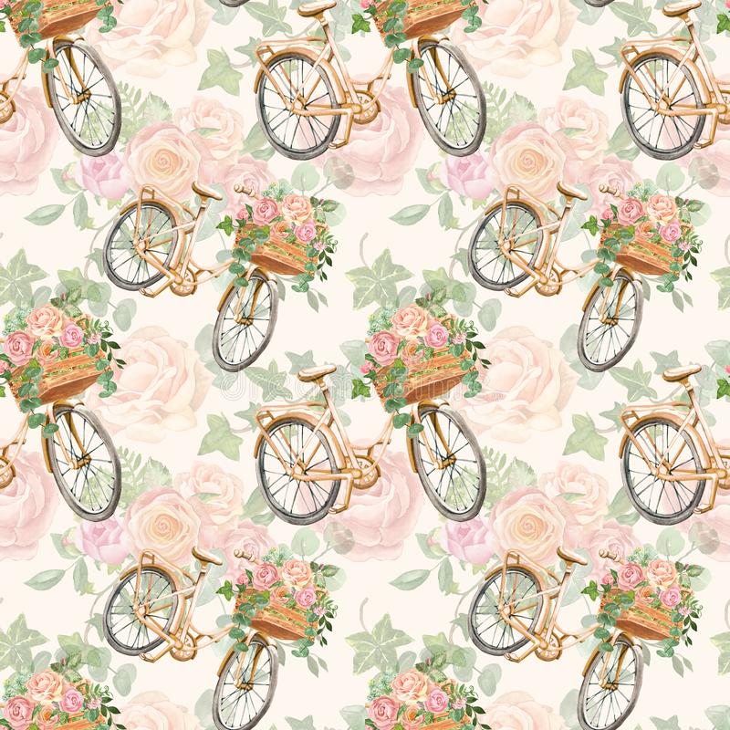Floral seamless pattern with watercolor bicycle and pink flowers in basket. Romantic botanical print in vintage retro style. Romantic botanical seamless pattern stock images