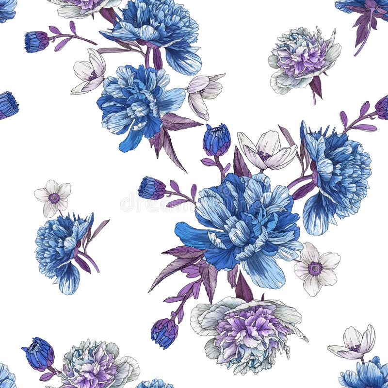 Floral seamless pattern with watercolor blue peonies and white anemones on white vector illustration