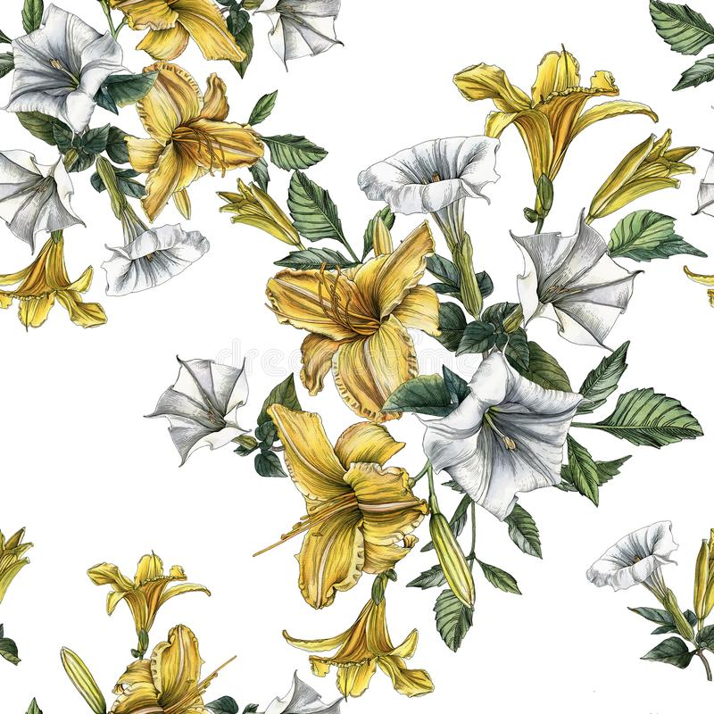 Floral seamless pattern with watercolor daylilies and datura flower royalty free illustration