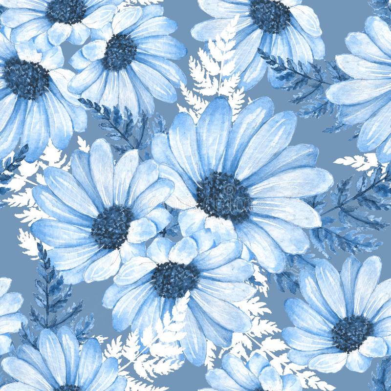 Floral seamless pattern. Watercolor flowers 8. Blue floral seamless pattern. Watercolor flowers stock illustration