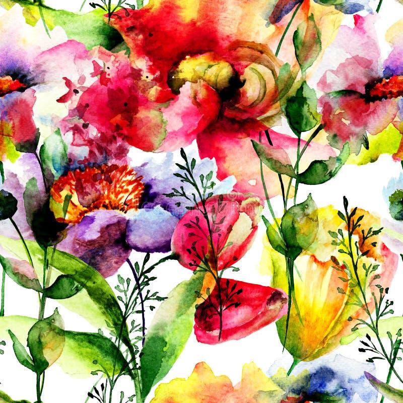 Floral seamless pattern. Watercolor illustration vector illustration