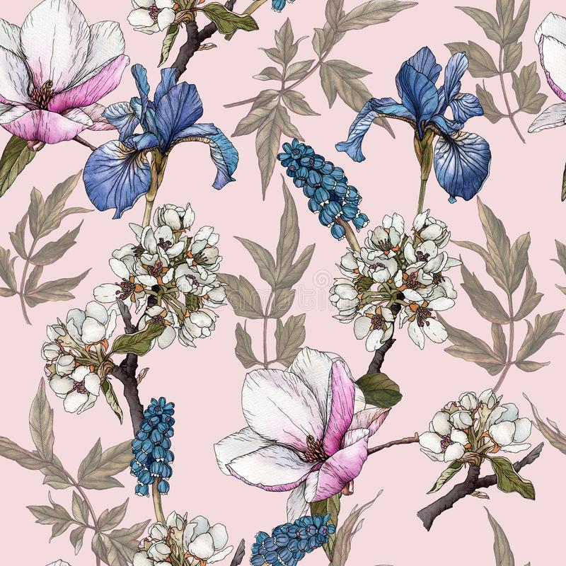 Floral seamless pattern with watercolor irises, peonies, anemones and muscari. Background with spring flowers stock illustration