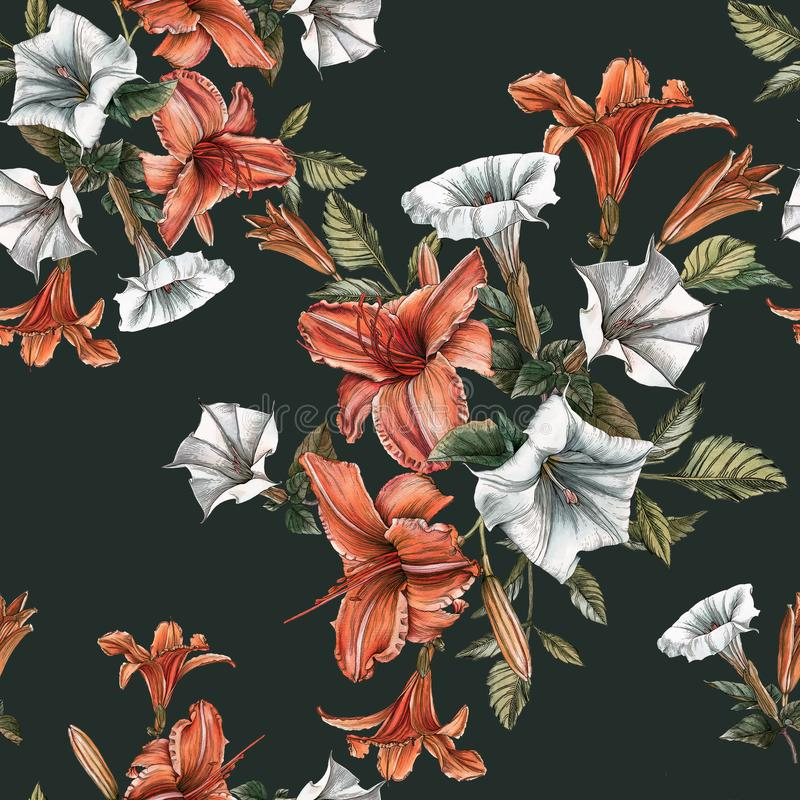Floral seamless pattern with watercolor daylilies and datura flower stock illustration