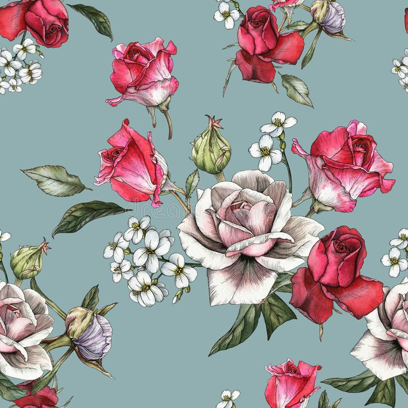 Floral seamless pattern with watercolor pink and red roses and jasmine stock illustration